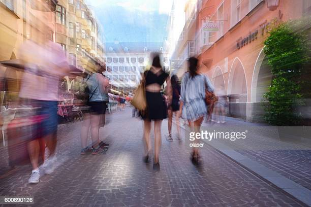 Innsbruck main shopping street, zoom and motion blur