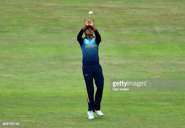 Inoka Ranaweera of Sri Lanka catches the wicket of Deepti Sharma of India during the ICC Women's World Cup 2017 match between Sri Lanka and India at...