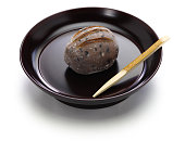 inoko mochi ( baby boar rice cake), traditional japanese sweets for tea ceremony in winter