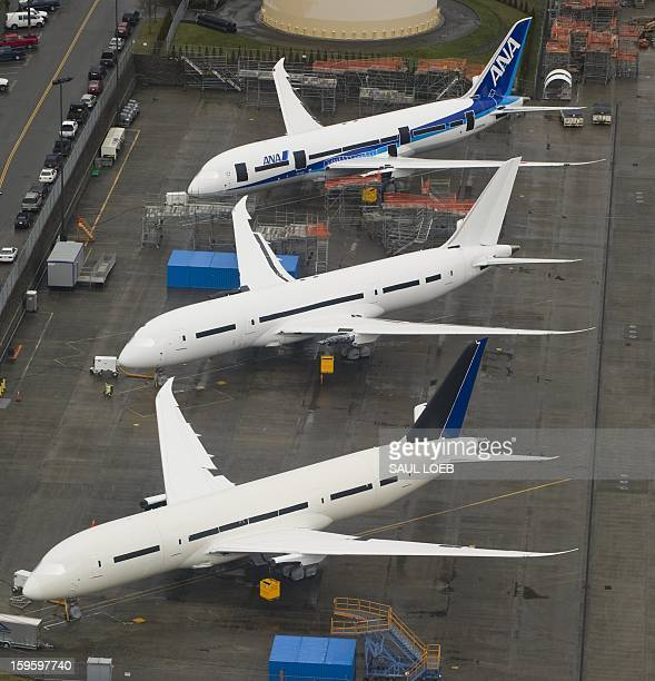 Inproduction Boeing 787 Dreamliner aircraft for ANA and other airlines sit on the tarmac at the Boeing production facilities and factory at Paine...