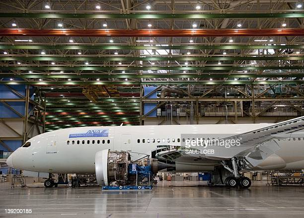Inproduction Boeing 787 Dreamliner aircraft for ANA sits under construction at the Boeing production facilities and factory at Paine Field in Everett...