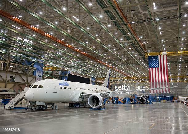 Inproduction Boeing 787 Dreamliner aircraft sit under construction at the Boeing production facilities and factory at Paine Field in Everett...