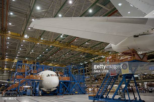 Inproduction Boeing 787 Dreamliner aircraft sits under construction at the Boeing production facilities and factory at Paine Field in Everett...