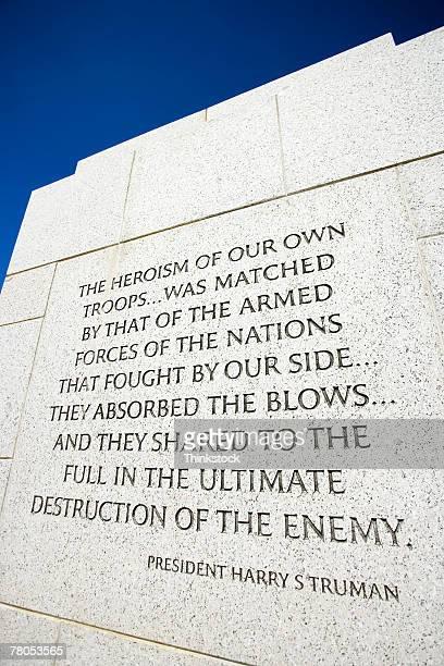 Inscription at World War II Memorial, Washington, DC
