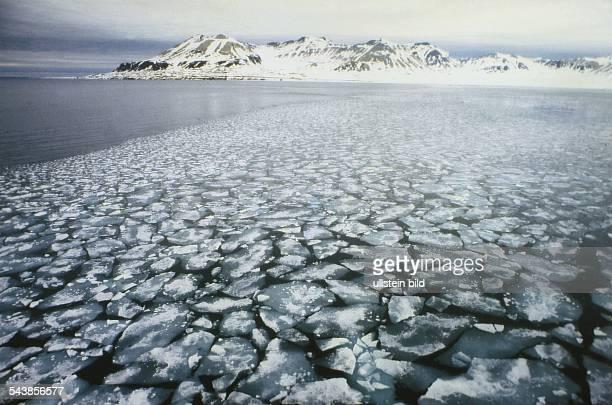 Insel Spitzbergen Nordpolarmeer Norwegen Packeis im Eismeer vor der Magdalenenbucht Aufgenommen 1995