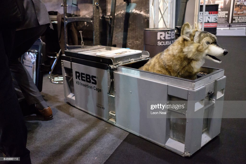 A 'K9 Insertion Cage' is seen on the 'REBS' display stand at the DSEI event at the ExCel centre on September 12, 2017 in London, England. The annual weapons and security trade fair sees manufacturers of all aspects of military, naval, airforce and security from all over the world display their latest designs to delegates.