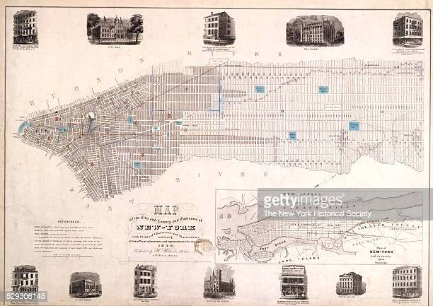 Map of NewYork and its vicinity shows 2 drawings of important buildings in Manhattan notes fire districts wards and railroads 1850 Black ink on paper...