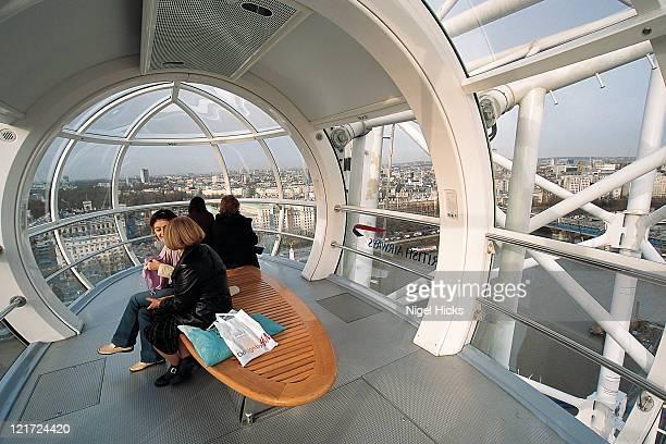 Inside a capsule on the BA London Eye