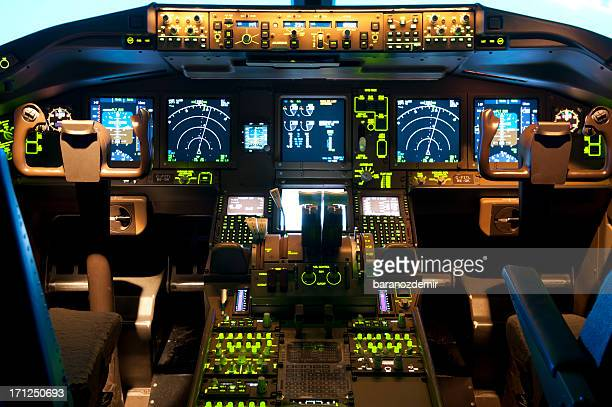 Inside a flight simulator