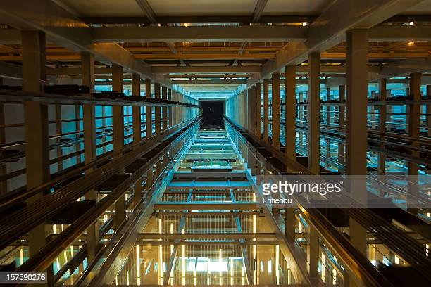 Inside a modern elevator shaft