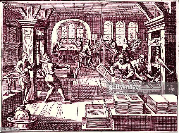 Inside a printer 's shop Engraving from Gottfried's 'Historical Chronicle' Frankfurt 1619 Tinted version