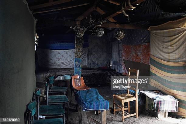 Inside a small hut known as 'The Sudan Club' which has been built in the camp known as 'The Jungle' from where thousands of asylum seekers try to...
