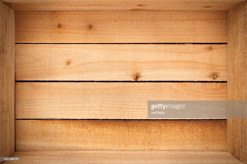 Inside an empty wooden crate