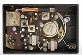 inside an old black pocket radio