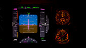This is a photo of flight's instruments from an airplane It's showing the panels, switches and other instruments. By using shallow focus and ambient light from early morning its given nice and warm fe