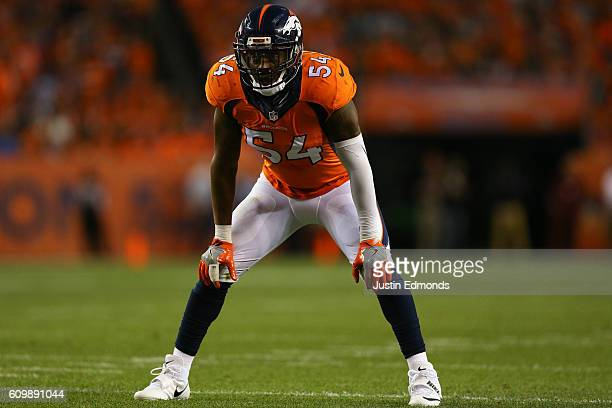 Inside linebacker Brandon Marshall of the Denver Broncos in action against the Carolina Panthers at Sports Authority Field Field at Mile High on...