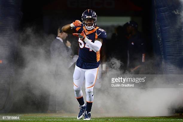 Inside linebacker Brandon Marshall of the Denver Broncos is introduced before the game against the Houston Texansat Sports Authority Field at Mile...