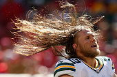 Inside linebacker Clay Matthews of the Green Bay Packers whips his hair during their NFL game against the San Francisco 49ers at Levi's Stadium on...