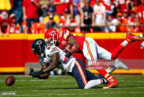 Inside linebacker Derrick Johnson of the Kansas City Chiefs breaks up a pass intended for tight end Martellus Bennett of the Chicago Bears during the...