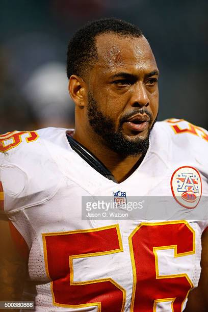 Inside linebacker Derrick Johnson of the Kansas City Chiefs leaves the field after the game against the Oakland Raiders at Oco Coliseum on December 6...