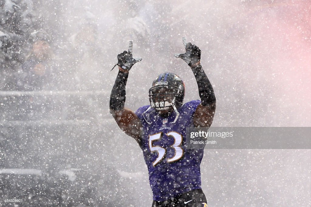 Inside linebacker <a gi-track='captionPersonalityLinkClicked' href=/galleries/search?phrase=Jameel+McClain&family=editorial&specificpeople=3954307 ng-click='$event.stopPropagation()'>Jameel McClain</a> #53 of the Baltimore Ravens takes the field during player introductions before playing the Minnesota Vikings at M&T Bank Stadium on December 8, 2013 in Baltimore, Maryland. The Baltimore Ravens won, 29-26.