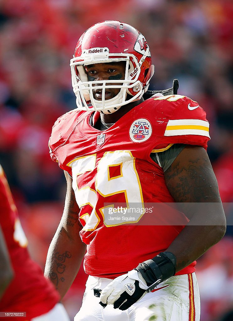 Inside linebacker Jovan Belcher #59 of the Kansas City Chiefs in action during the game against the Cincinnati Bengals at Arrowhead Stadium on November 18, 2012 in Kansas City, Missouri.