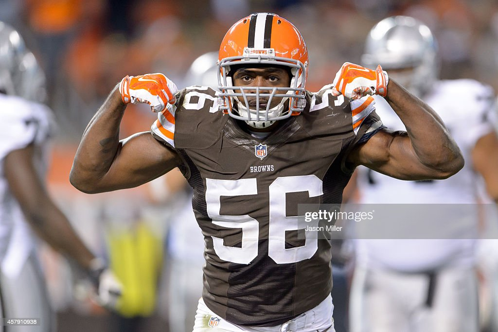 Inside linebacker <a gi-track='captionPersonalityLinkClicked' href=/galleries/search?phrase=Karlos+Dansby&family=editorial&specificpeople=233759 ng-click='$event.stopPropagation()'>Karlos Dansby</a> #56 of the Cleveland Browns celebrates after a tackle during the second half against the Oakland Raiders at FirstEnergy Stadium in Cleveland, Ohio. The Browns defeated the Raiders 23-13.