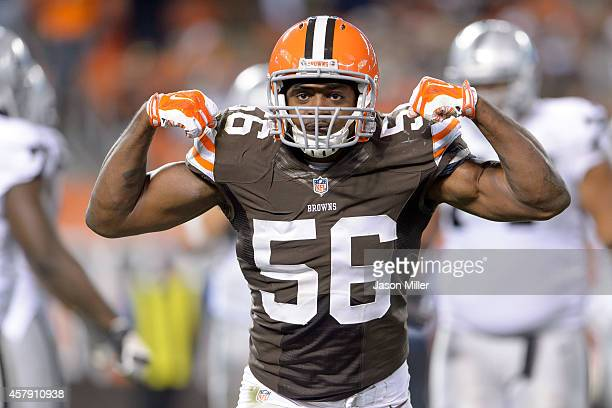 Inside linebacker Karlos Dansby of the Cleveland Browns celebrates after a tackle during the second half against the Oakland Raiders at FirstEnergy...