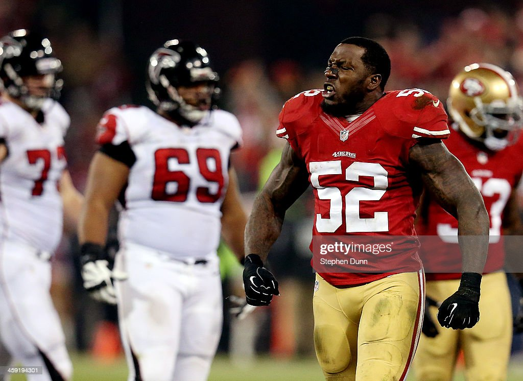 Inside linebacker <a gi-track='captionPersonalityLinkClicked' href=/galleries/search?phrase=Patrick+Willis&family=editorial&specificpeople=2218577 ng-click='$event.stopPropagation()'>Patrick Willis</a> #52 of the San Francisco 49ers celebrates a defensive stop against the Atlanta Falcons during a game at Candlestick Park on December 23, 2013 in San Francisco, California.