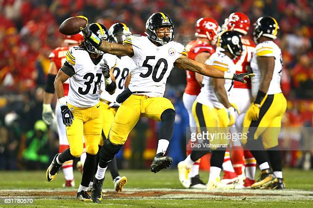 Inside linebacker Ryan Shazier of the Pittsburgh Steelers celebrates a play against the Kansas City Chiefs during the second quarter in the AFC...