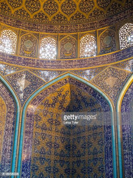Inside Lotfollah Mosque the first mosque to be built on Esfahan's iconic Naqshe Jahan Square Iran Shah Abbas built it as a private mosque for the...