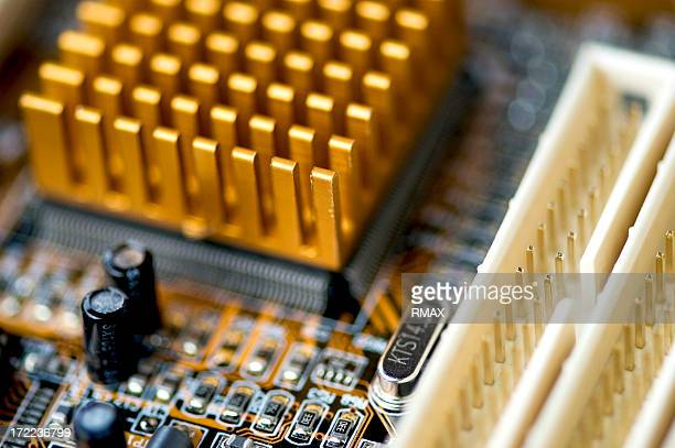 Inside of computer power board with capacitors