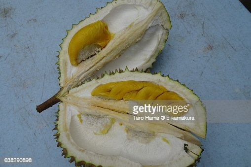 Inside of durian fruits in South East Asia