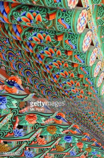 Inside of Korean Buddhist temple roof