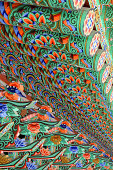 Inside of Korean Buddhist temple roof