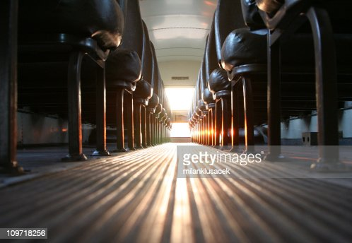 Inside of School Bus with Sun Shining In : Stock Photo