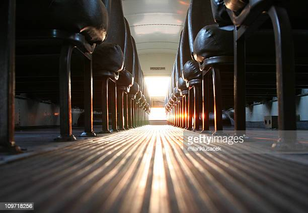 Inside of School Bus with Sun Shining In