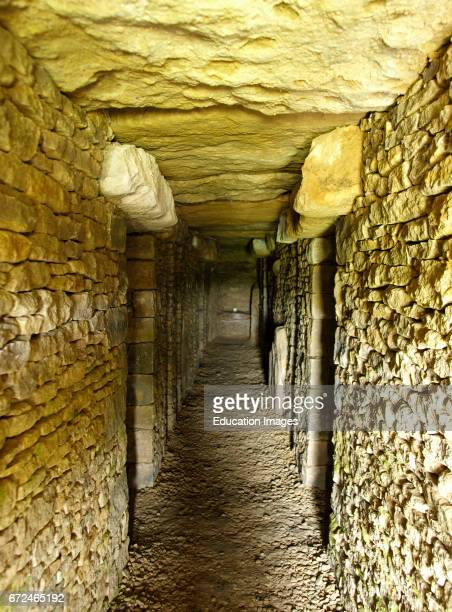 Inside of The Long Barrow All Canning Devizes Wiltshire UK A modern burial burrow where cremation urns for people of any faith can rest in peace