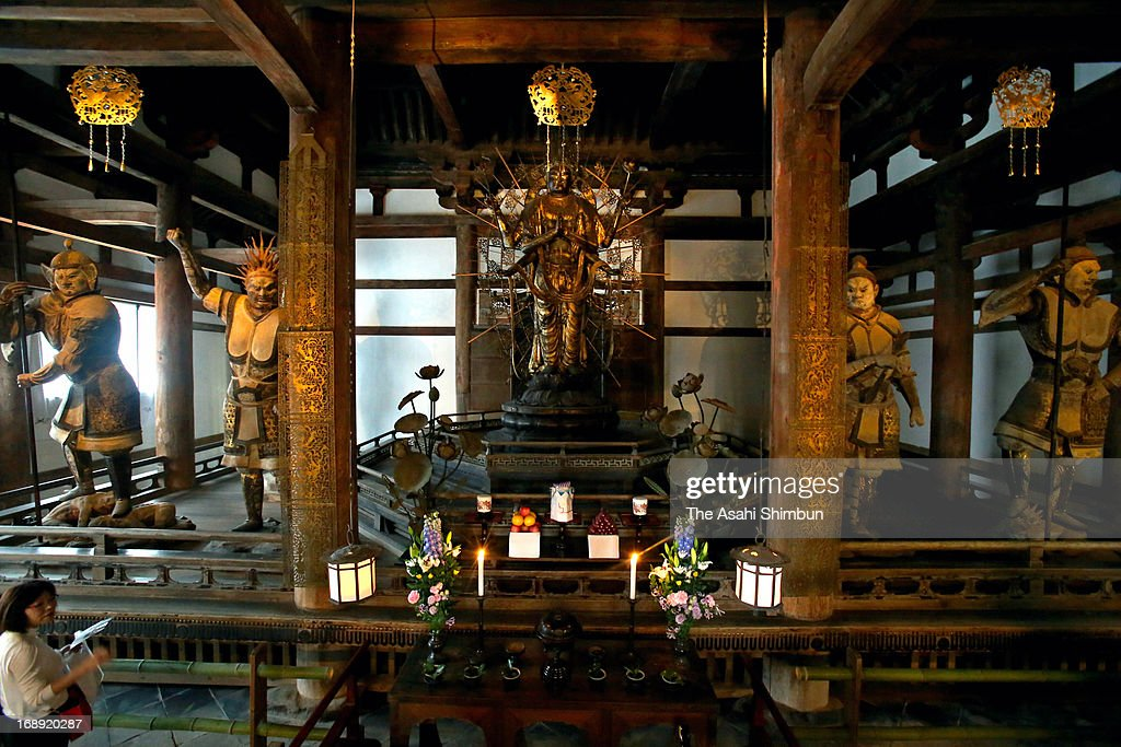 Inside of Todaiji Hokkedo, with its wooden Kannon Bodhisattva and Vajra-vira statues, revealed to the press after partial repairing on May 16, 2013 in Nara, Japan.