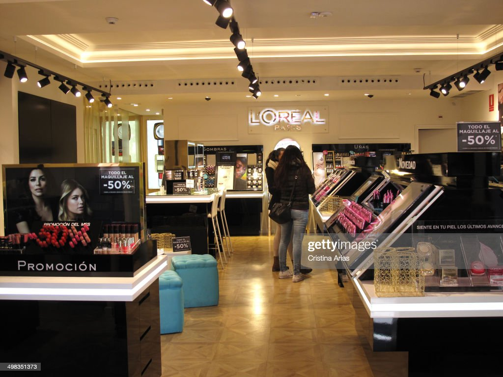 Inside Shop of the French cosmetics brand L'Oreal in Fuencarral street in Madrid Spain
