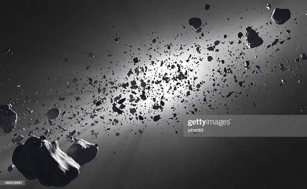 Inside the Asteroid Belt against the sun : Stockfoto
