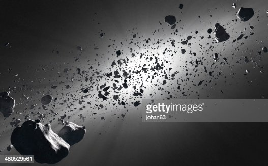 Inside the Asteroid Belt against the sun : Stock Photo