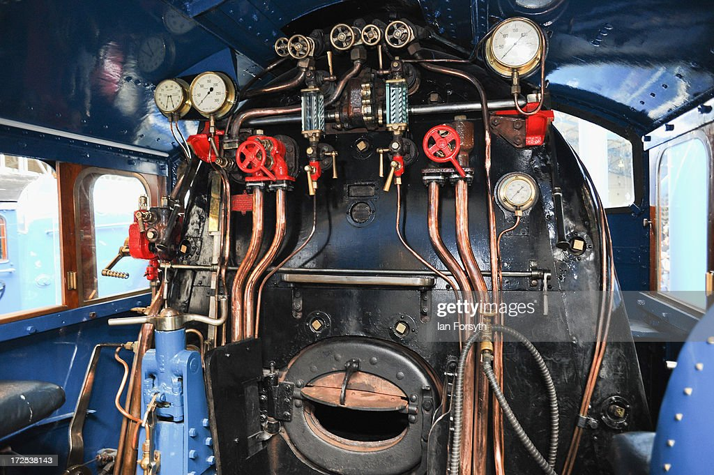 Inside the cab of the famous locomotive Mallard at the National Railway Museum on July 3, 2013 in York, England. The National Railway Museum's 'Great Gathering' marks 75 years since the world's fastest steam locomotive, Mallard, made its world record breaking run in 1938, and reunites the locomotive with its five sister locomotives, the Sir Nigel Gresley, Dwight D Eisenhower, Union of South Africa, Bittern and the Dominion of Canada