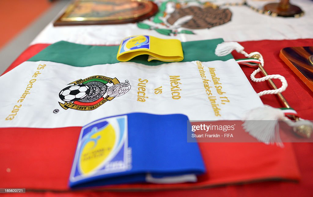 Inside the dressing room of Mexico prior to the start the FIFA U 17 World Cup group F match between Sweden and Mexico at Khalifa Bin Zayed Stadium on October 25, 2013 in Al Ain, United Arab Emirates.