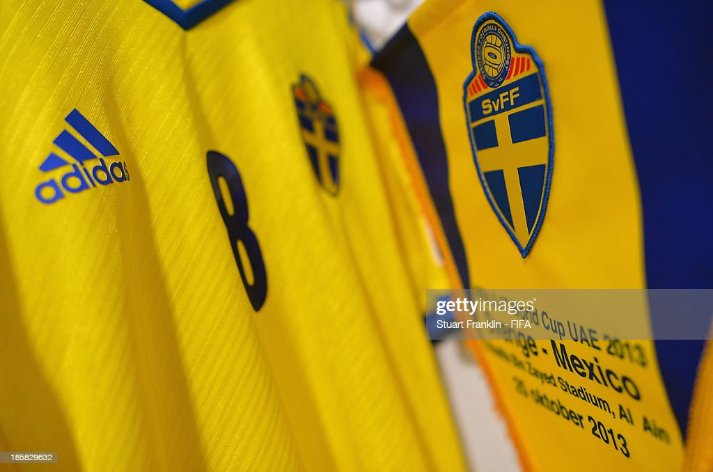 Inside the dressing room of Sweden prior to the start the FIFA U 17 World Cup group F match between Sweden and Mexico at Khalifa Bin Zayed Stadium on October 25, 2013 in Al Ain, United Arab Emirates.
