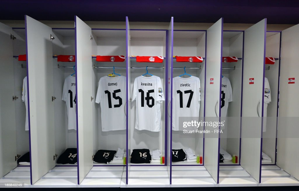 Inside the dressing room of the team of Austria prior to the start of the FIFA U 17 World Cup group E match between Austria and Iran at Khalifa Bin Zayed Stadium on October 25, 2013 in Al Ain, United Arab Emirates.