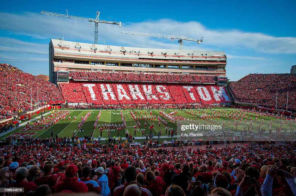 Inside the expanding Memorial Stadium, Husker football and it's fans pay tribute to retiring Athletic Director and former coach Tom Osborne before their game against Minnesota Golden Gophers at Memorial Stadium on November 17, 2012 in Lincoln, Nebraska. Nebraska won 38-14.