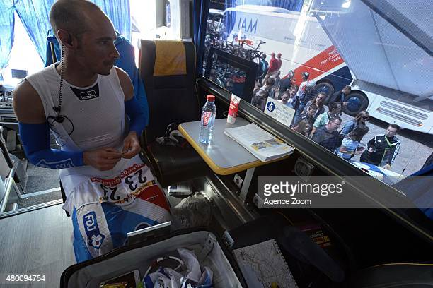 Inside the FDJ bus during Stage Six of the Tour de France on Thursday 09 July 2015 Le Havre France