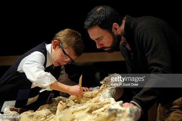 Inside the Mammoths and Mastodons Titans of the Ice Age exhibit Eli Navant joins Joe Sertich curator of Vertebrate Paleontology as they prepare the...