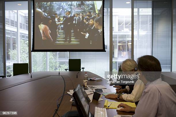 Inside the 'page one design meeting' at the New York Times Building designed by architect Renzo Piano on 8th Avenue at 43rd Street May 2008 in New...